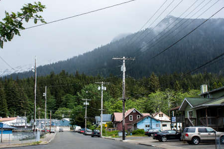 Alaska traditional wooden architecture houses rustic inrs mountain cloudy
