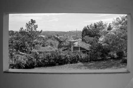 landscape farm plantation vegetation balcony  view black white
