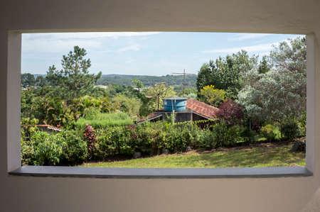 landscape farm plantation vegetation balcony  view Stock Photo