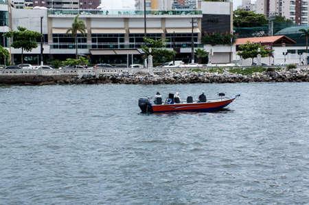 ocean fishing boat city Santos Brazil day