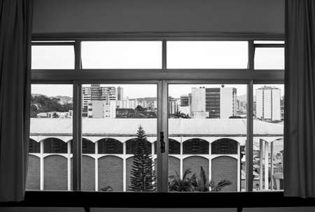 window view  downtown Blumenau  city Brazil day black white