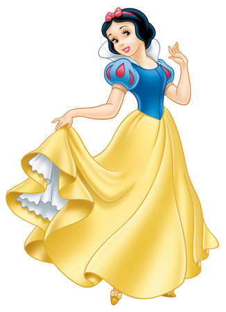 snow white princess illustration beauty cartoon yellow dress
