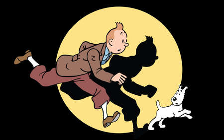 The Adventures of Tintin illustration  Snowy dog running