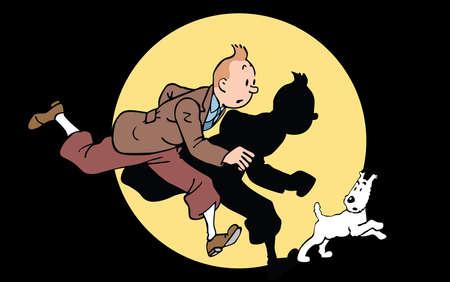 The Adventures of Tintin illustration  Snowy dog running Foto de archivo - 104748001