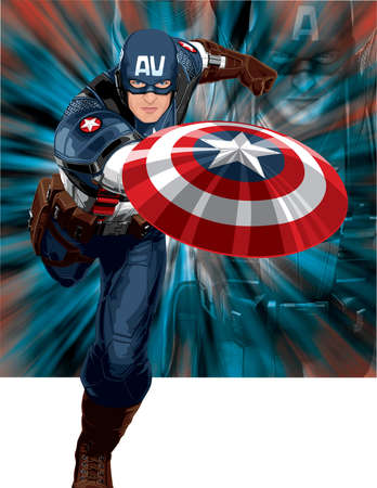 captain america superhero action illustration