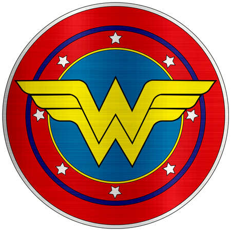 wonder woman red yellow illustration metallic Editorial