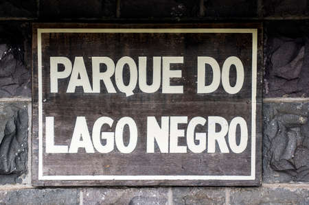 parque do lago negro translation black lake park wooden sign attraction city Gramado Brazil Reklamní fotografie