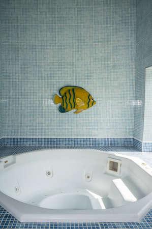 whirlpool indoor luxury relaxation nobody blue tiles Stock Photo