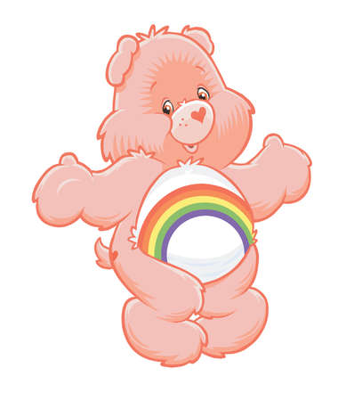 care bears cheer bear rainbow illustration