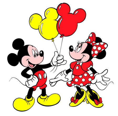 minnie mouse red tie mickey mouse balloons gift Redakční