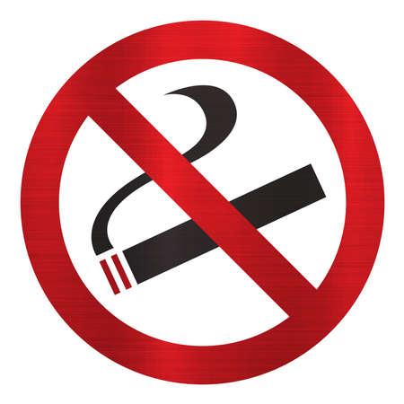 attention alert no smoking symbol sign area  forbidden metallic Stock Photo