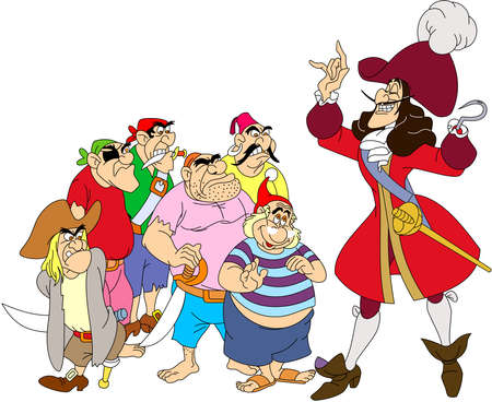 captain hook pirates character illustration cartoon Editorial