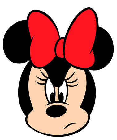 minnie mouse head character cartoon  worried  angry  illustration