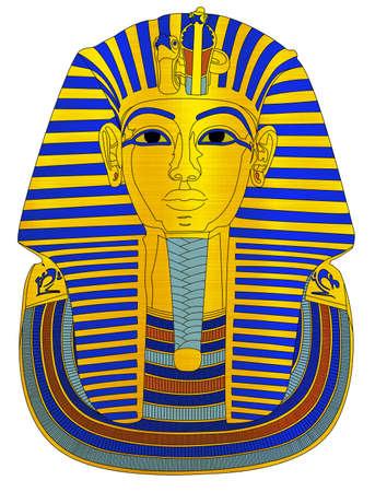 Tutankhamun  pharaoh metallic illustration tomb archaelogy Egypt Stock Illustration - 104214453