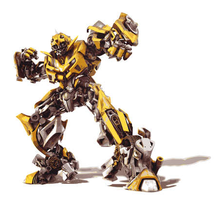 Bumblebee transformers yellow car superhero metallic illustration Editorial