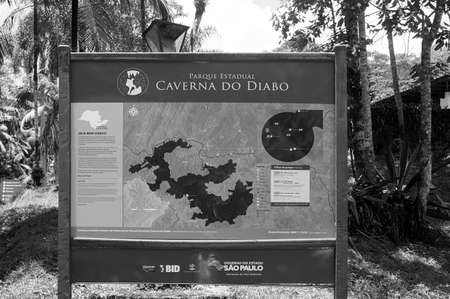 map information devil cave Brazil tourism location black white