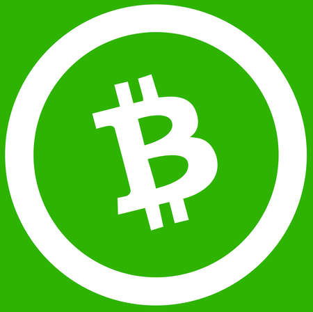 Bitcoin Cash green color crypton coin currency illustration Stock Photo
