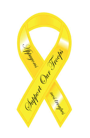 support our troops ribbon yellow golden color illustration