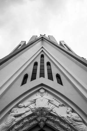 city Bento Goncalves Brazil Catholic church architecture perspective view  Crist  black white Banco de Imagens