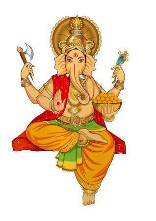 Ganesha hindu lord faith mythology bless god illustration metallic Stock Photo