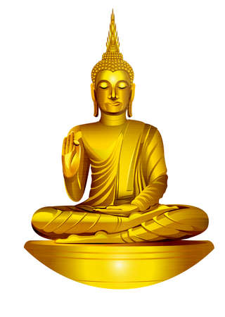 Golden Buddha Statue thai culture religious meditation metallic illustration