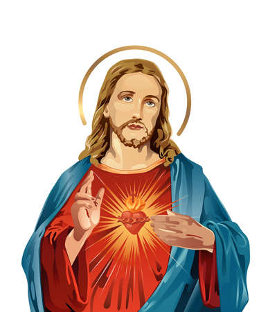 Jesus Christ sacred love peace faith holy spirit illustration