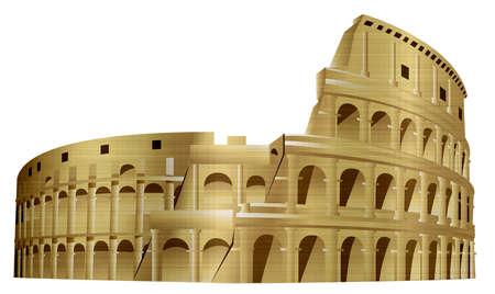 The Colosseum monument Rome Italy metallic illustration Stock Photo