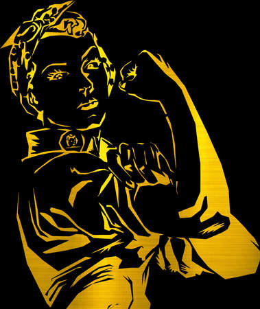 Rosie the Riveter We Can Do It golden metallic illustration 스톡 콘텐츠