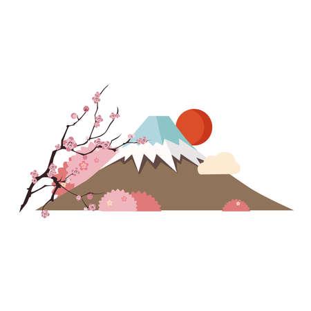 cherry tree pink blossom  nature mount Fuji Tokyo illustration Stock Photo
