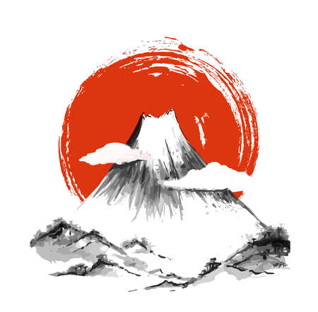 mount Fuji Japan volcano snow peak illustration Stock Photo