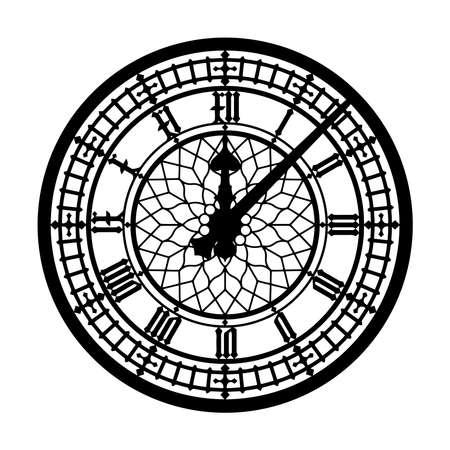 clock big ben pointer time London retro illustration