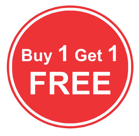 discounts buy one get one  free promotion red illustration Imagens - 110671241