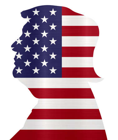 flag united states  america president Trump illustration Stock Photo