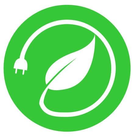 renewable energy power electricity plug  green eco illustration Stock Photo