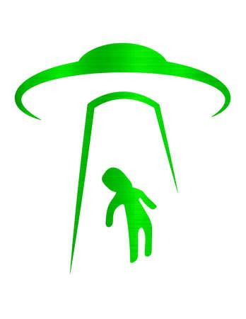 ufo abduction alien green metallic illustration
