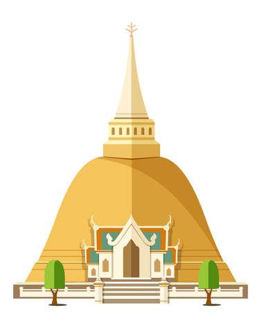 Thailand landmark tourism pagoda wat temple thai illustration Stock Photo