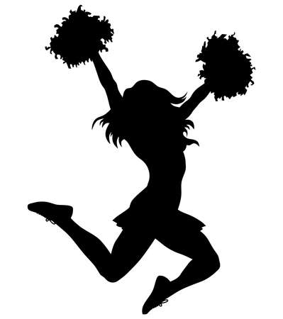 cheerleader high school jumping sport squad silhouette illustration Banque d'images - 110670910