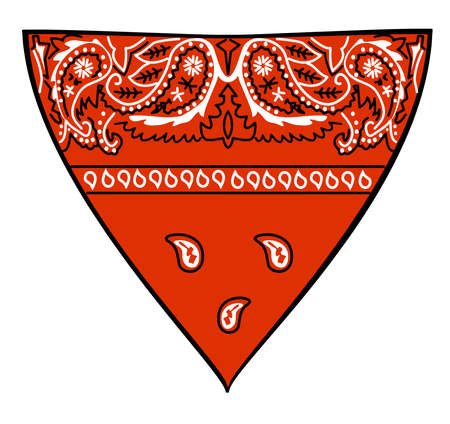 handkerchief cowboy bandana red fashion aceessory illustration Фото со стока