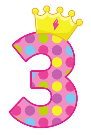 birthday number three candle party crown illustration