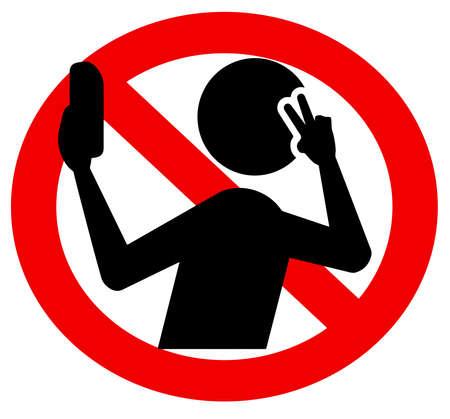 no selfie sign  mobile photo forbidden illustration