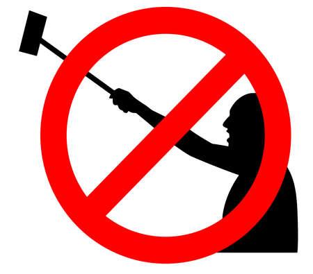 no selfie stick sign  mobile photo forbidden illustration