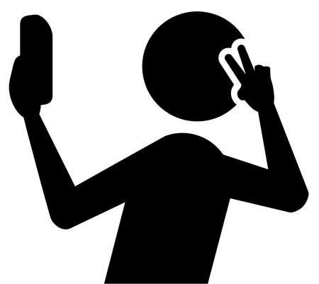 selfie people taking posing mobile photo silhouette illustration Stock Photo