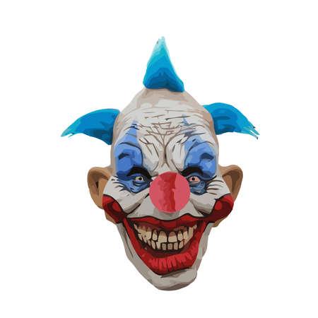 terror clown evil scary expression smile illustration