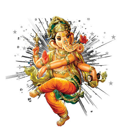 Ganesha hindu  elephant lord faith mythology bless god illustration  Asia Banco de Imagens