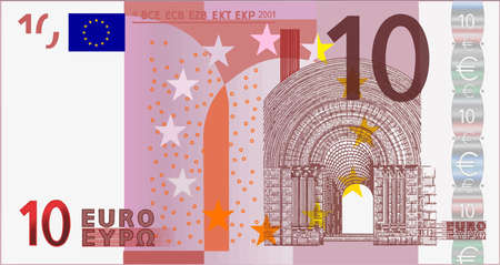 euro bill cash currency ten note illustration