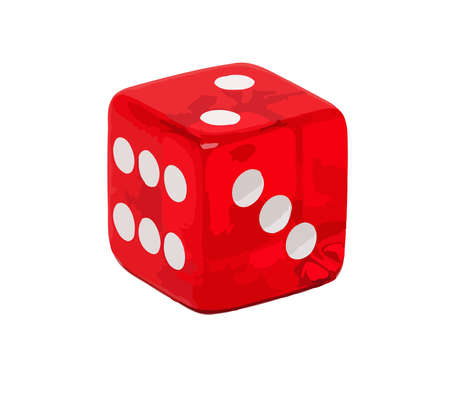 dice red game bet gambling throw two three six illustration