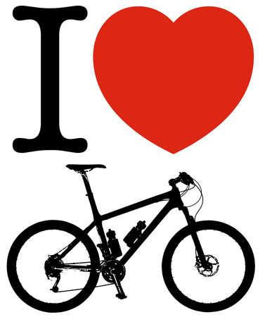 i love bicycle sport heart lifestyle silhouette illustration Stok Fotoğraf