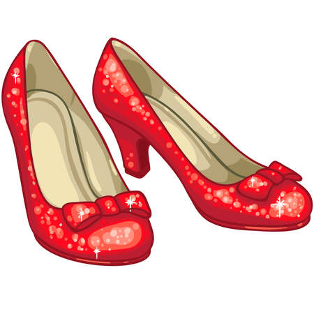 red slippers ruby sparkly glitter illustration Stock Photo