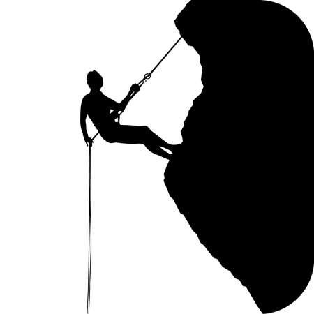 climbing mountain adventure sport extreme silhouette illustration