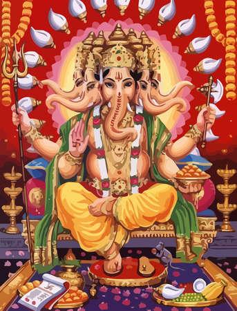 Ganesha hindu lord faith mythology bless god fruits offers illustration